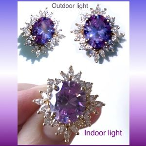 Jewelry - LUX Victoria Wieck 14k Gold ALEXANDRITE Halo Ring